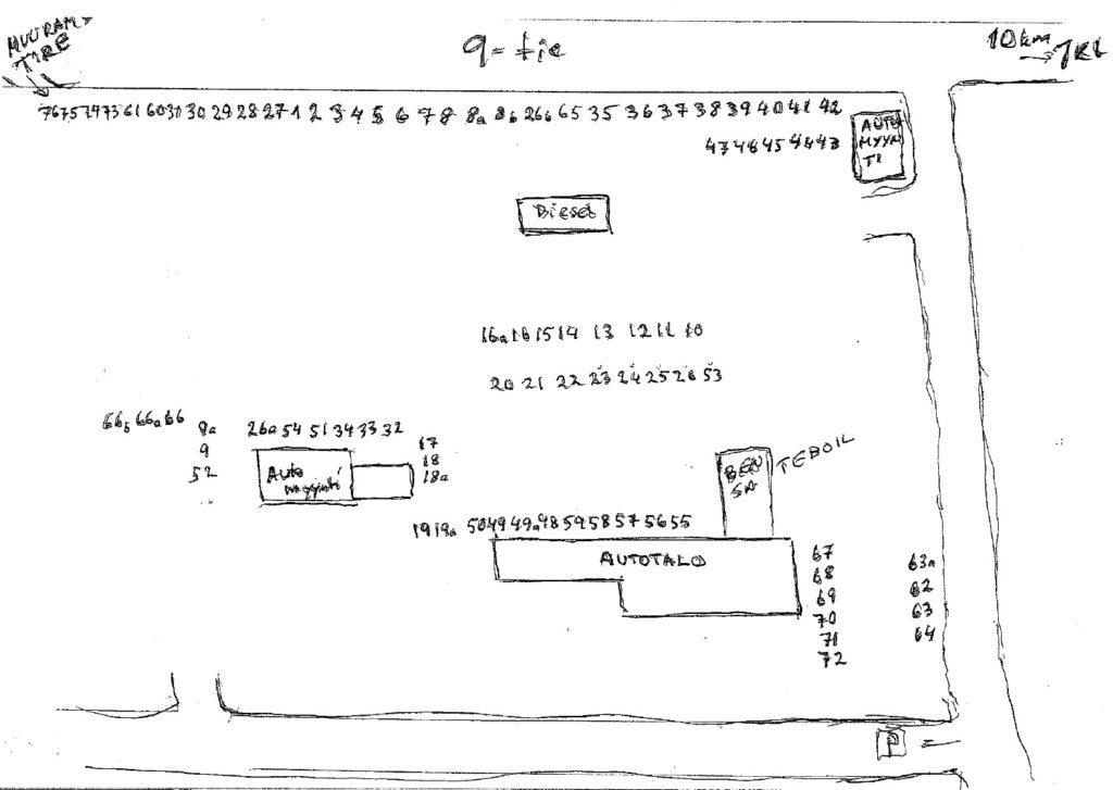 Rompepäivien aluekartta Muuramen Autotalon pihalla